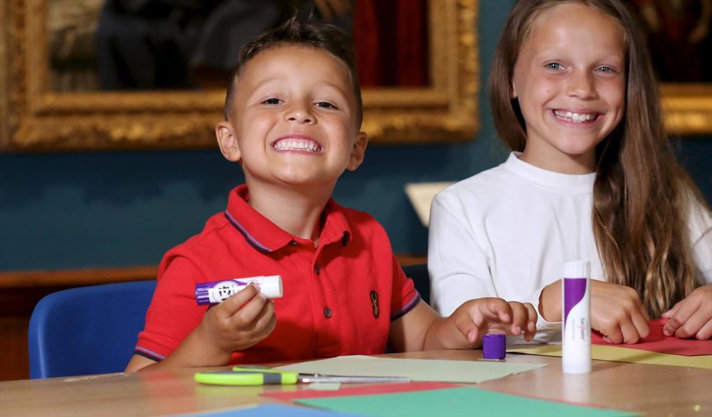 Image: Children taking part in an activity at Victoria Art Gallery